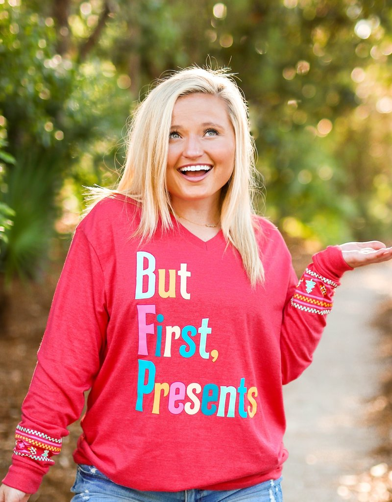 Jadelynn Brooke But First Presents Long Sleeved Tee