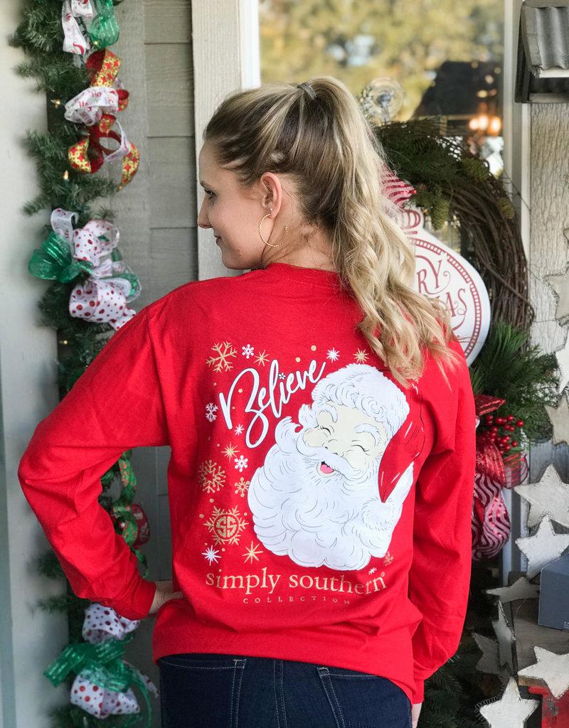 simply southern Believe Red Santa Long Sleeve Tee