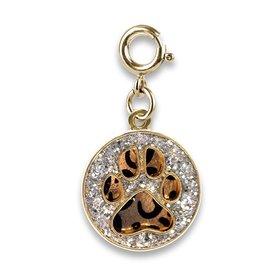 Gold Paw Print Leopard Charm