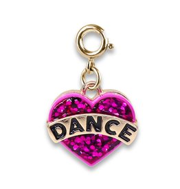 Gold Glitter Dance Heart Charm