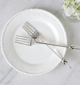 Mudpie Mr & Mrs Beaded Cake Plate Set