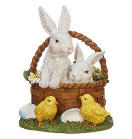 RAZ Imports Bunnies In Easter Basket