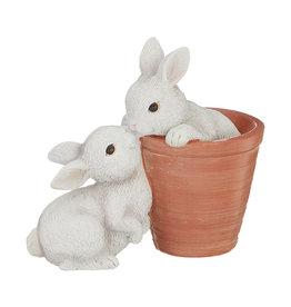 RAZ Imports Kissing Bunnies in Pot