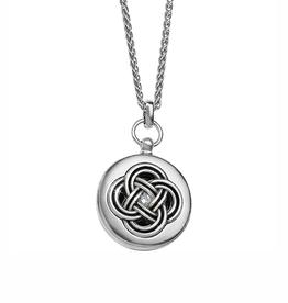 Brighton Interlok Small Round Locket Necklace - Silver