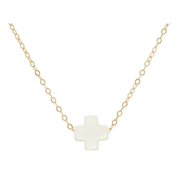 "enewton design Signature Cross 16"" Necklace Gold - Off White"