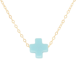 "enewton design Signature Cross 16"" Necklace Gold - Turquoise"