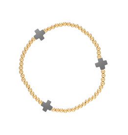 enewton design Signature Cross Gold Pattern 3mm Bead Bracelet - Charcoal