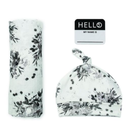 Newborn Swaddle Set Black Floral