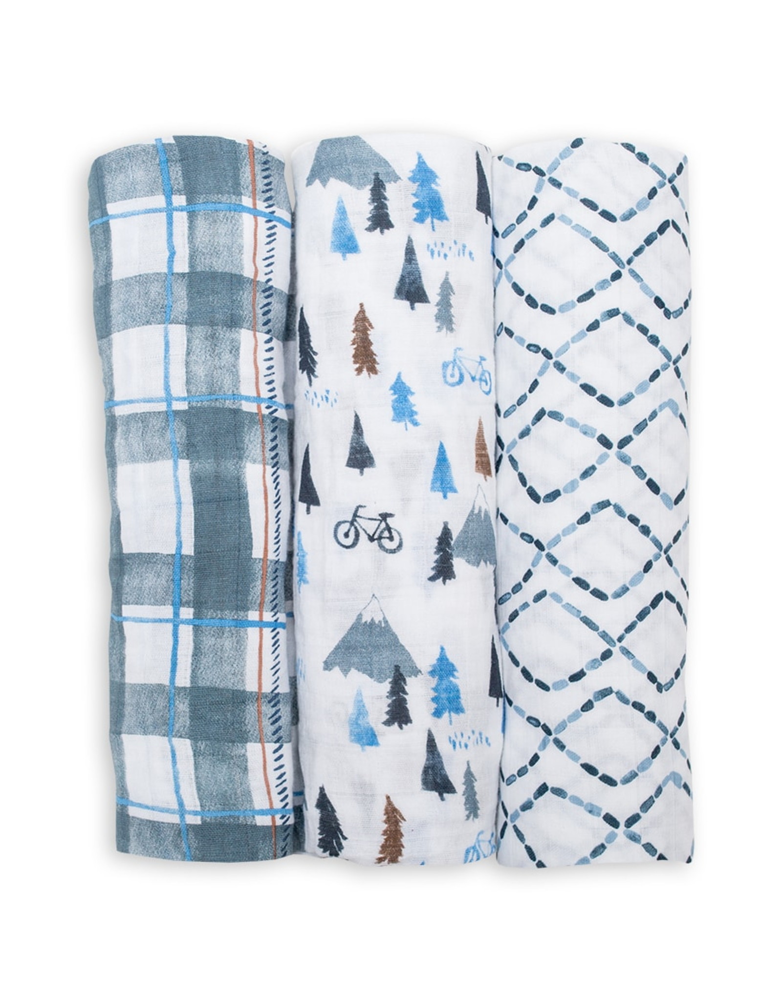 3PK Cotton Muslin - Navy Mountains