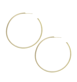 Natalie Wood Designs Large Beaded Hoop Earrings - Gold