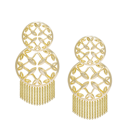 Natalie Wood Designs Grace Statement Tassel Earrings - Gold