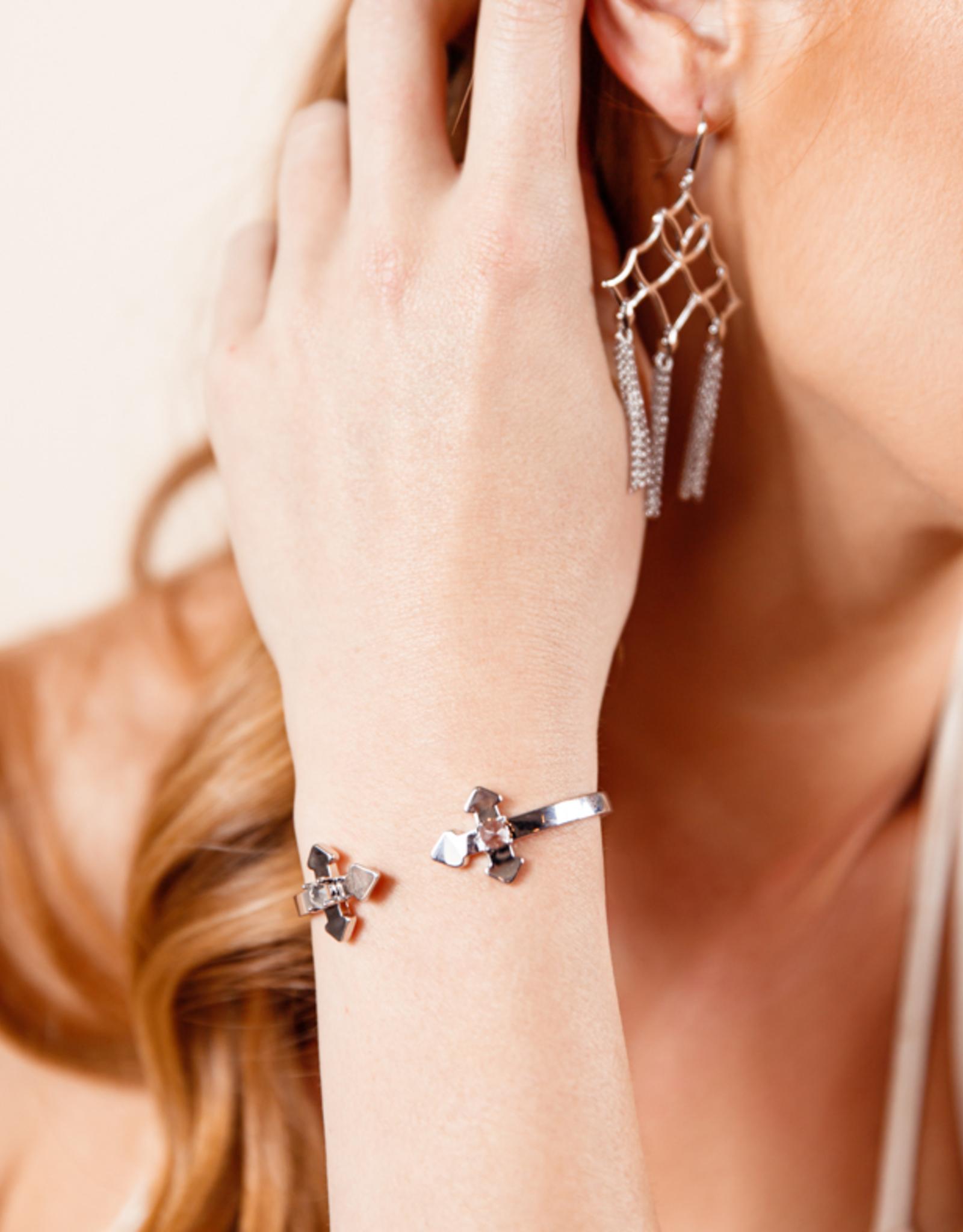 Natalie Wood Designs Believer Cross Cuff Bracelet - Silver