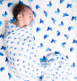 Blue Butterfly Organic Muslin Cotton Swaddle