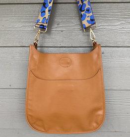 ah dorned Camel Vegan Leather Messenger - Blue Leopard Strap