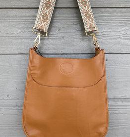Camel Vegan Leather Messenger - Sage Embroidered Strap
