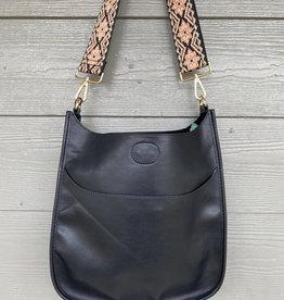 ah dorned Black Vegan Leather Messenger - Peach Embroidered Strap