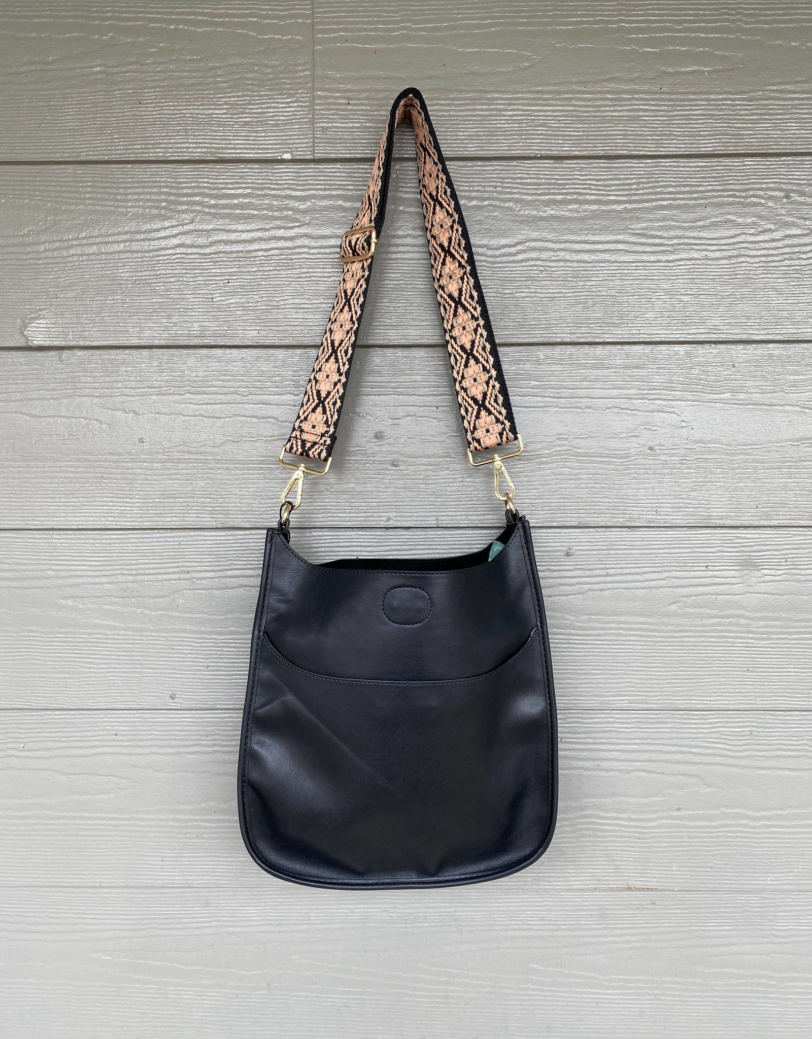 Black Vegan Leather Messenger - Peach Embroidered Strap