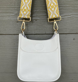 ah dorned Petite White Vegan Leather Messenger - Yellow Embroidered Strap