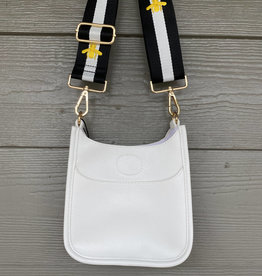 ah dorned Petite White Vegan Leather Messenger - B&W Embroidered Bee Strap