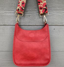 ah dorned Mini Red Vegan Leather Messenger - Red Leopard Strap