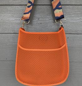 ah dorned Orange Neoprene Messenger - Orange Camo Strap