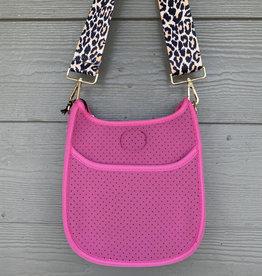 ah dorned Mini Pink Neoprene Messenger - Leopard Strap