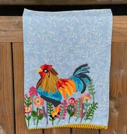 Karma Living Rooster & Flowers Tea Towel