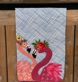 Dual Flamingos Tea Towel