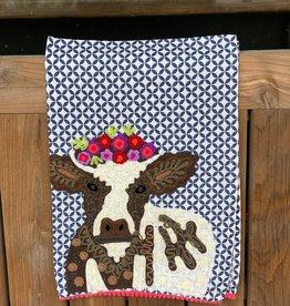 Karma Living Crown of Flowers Cow Tea Towel