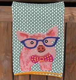 Karma Living Pig W/Glasses Tea Towel