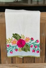 Blue Stripe/Green Ball Fringe Tea Towel