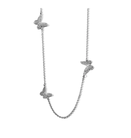 Brighton Solstice Bloom Butterfly Long Necklace - Silver