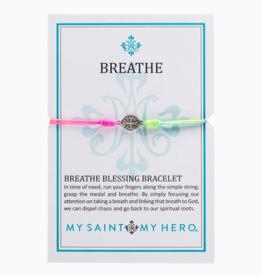 my saint my hero Breathe Blessing Bracelet - Silver/Rainbow
