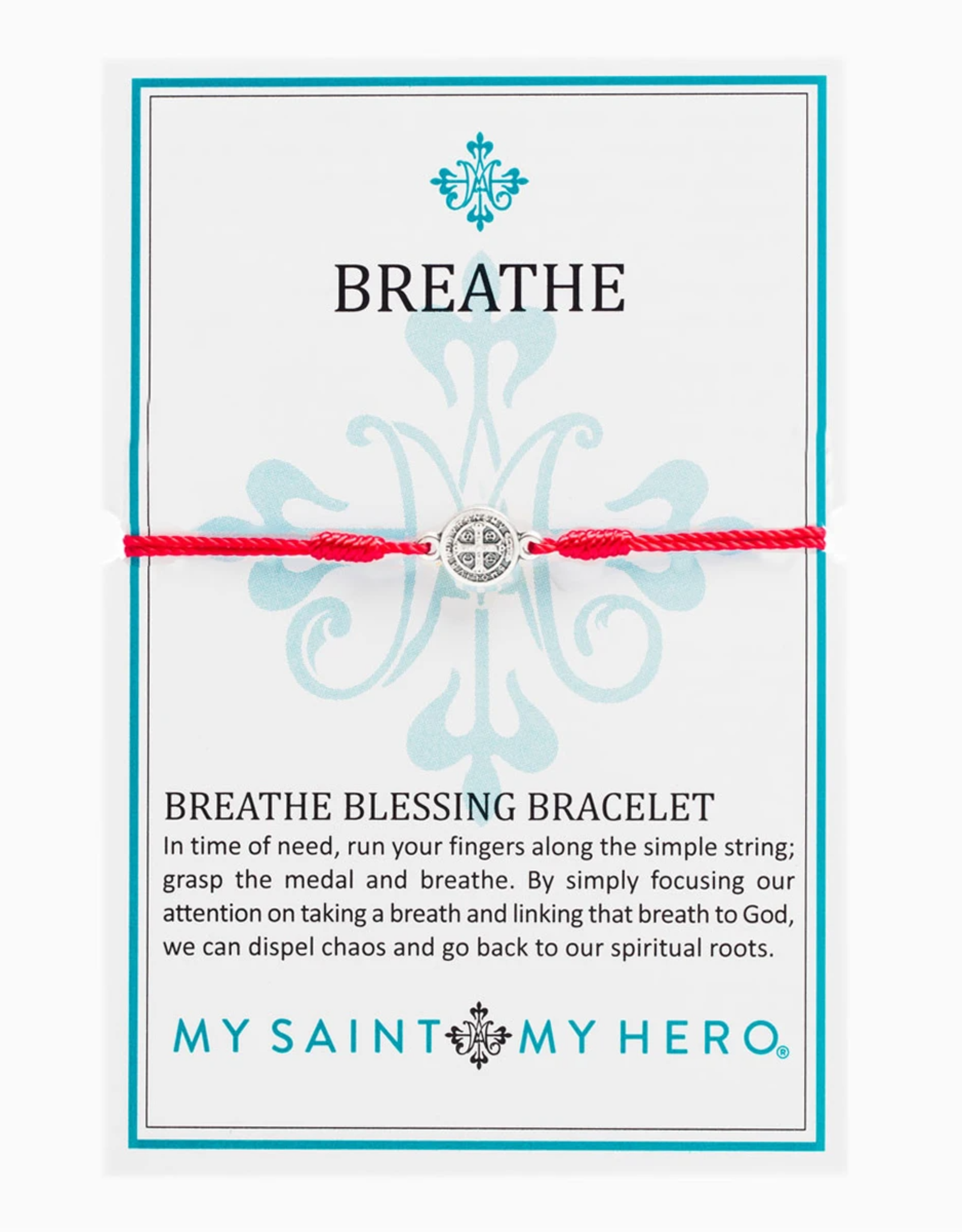 my saint my hero Breathe Blessing Bracelet - Silver/Red
