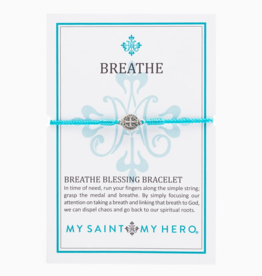 my saint my hero Breathe Blessing Bracelet - Silver/Turquoise