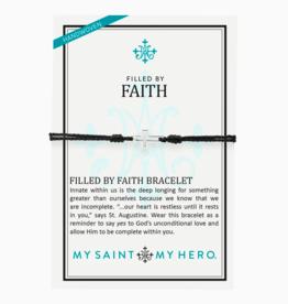 my saint my hero Filled By Faith Bracelet - Silver/Black
