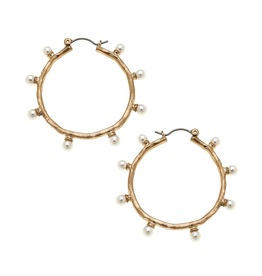 Aurora Ivory Pearl Studded Hoop Earrings