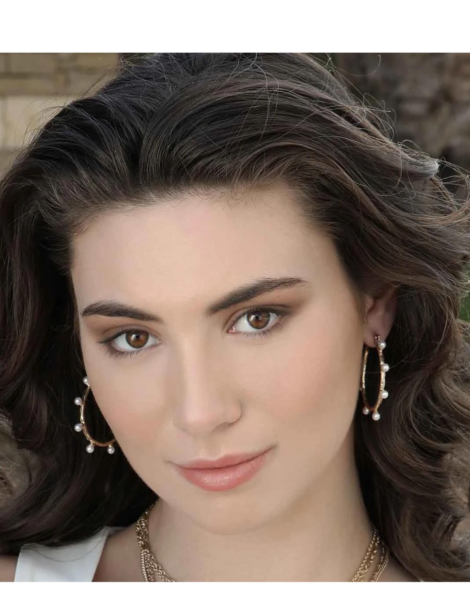 Aurora Ivory Pearl Studded Hoop Earrings
