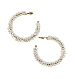 Roslyn Ivory Seed Bead Hoop Earrings
