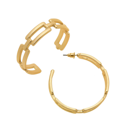 Square Link Hoop Earrings - Gold