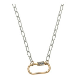 Long Chain Necklace W/Pave Ring Oval Silver