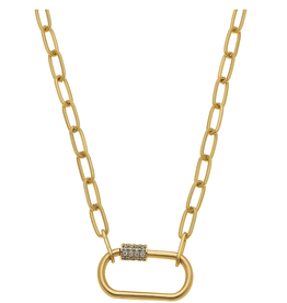 Long Chain Necklace W/Pave Ring Oval Gold