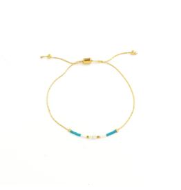 Splendid Iris Turquoise Pull Bracelet - Gold Chain
