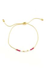 Splendid Iris Fucshia Pull Bracelet - Gold Chain