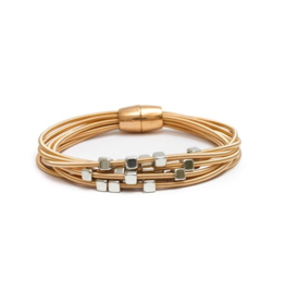 Splendid Iris Multi-strand coils w/Sliver Beads- Gold