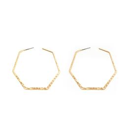 Splendid Iris Hammered Hexagon Hoop - Gold