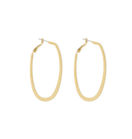 Splendid Iris Oblong Shiny Gold Hoop Earrings