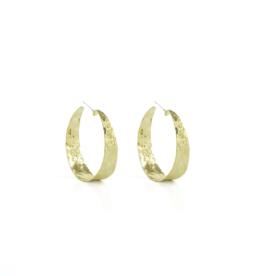 Splendid Iris Gold Wide Textures Hoop Earrings