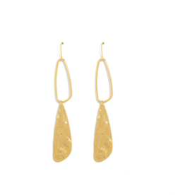 Splendid Iris Gold Long Open & Closed Abstract Earrings