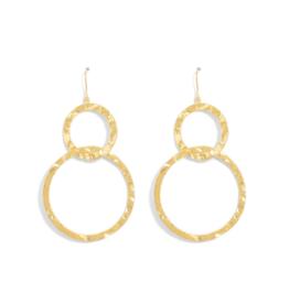 Splendid Iris Gold Double Texture Open Circle Earrings